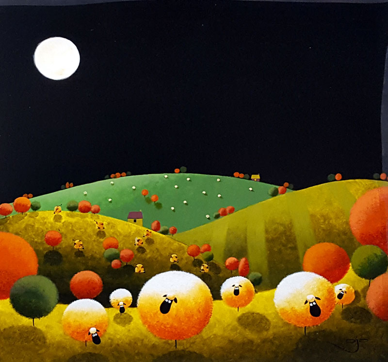 Moonlit Sheep - Painting by A J Callan