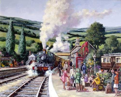 Holiday Travellers - Painting by Alan King