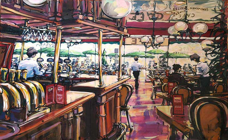 Au Cafe - Painting by Allan Stephens