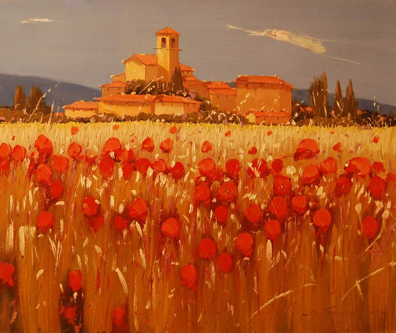 Scarlet Fields - Painting by Bruno Tinucci