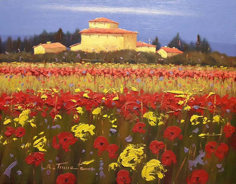 Scarlet Gold - Painting by Bruno Tinucci