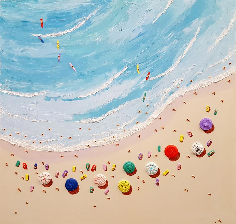 Beach Scene - Painting by Casimiro Perez