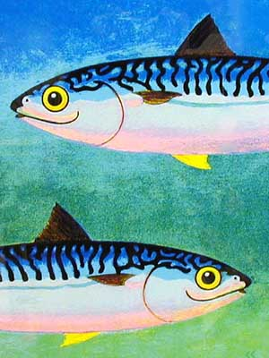 Two Mackerel Blue - Painting by Chris Chapman