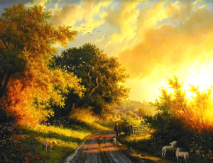 Sun Setting on the Road to Pell's Farm - Painting by Daniel Van der Putten