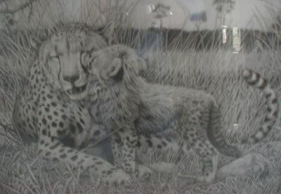 Cheetah with Cub - Painting by David Dancey-Wood