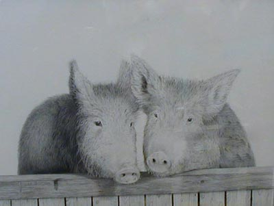 Two Little Piggies - Painting by David Dancey-Wood