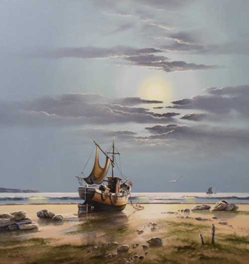 Moonlit Beach - Painting by David James