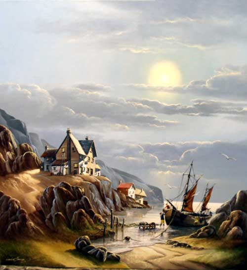 Moonlit Harbour - Painting by David James