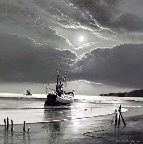 Silver Night - Painting by David James