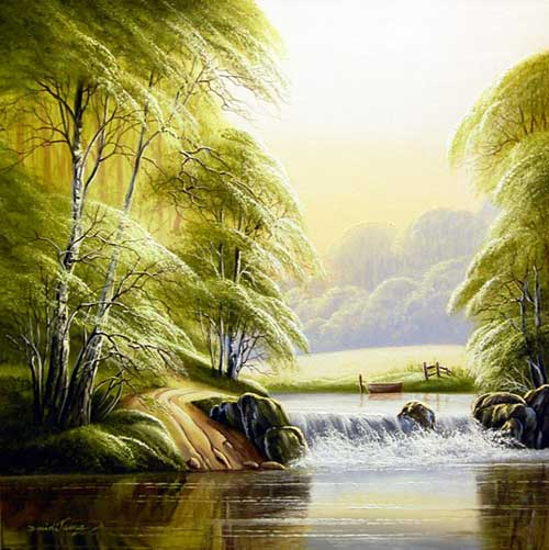 Gentle Falls - Painting by David James