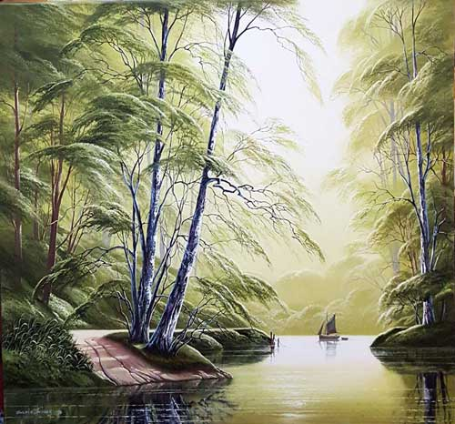 Peaceful River - Painting by David James