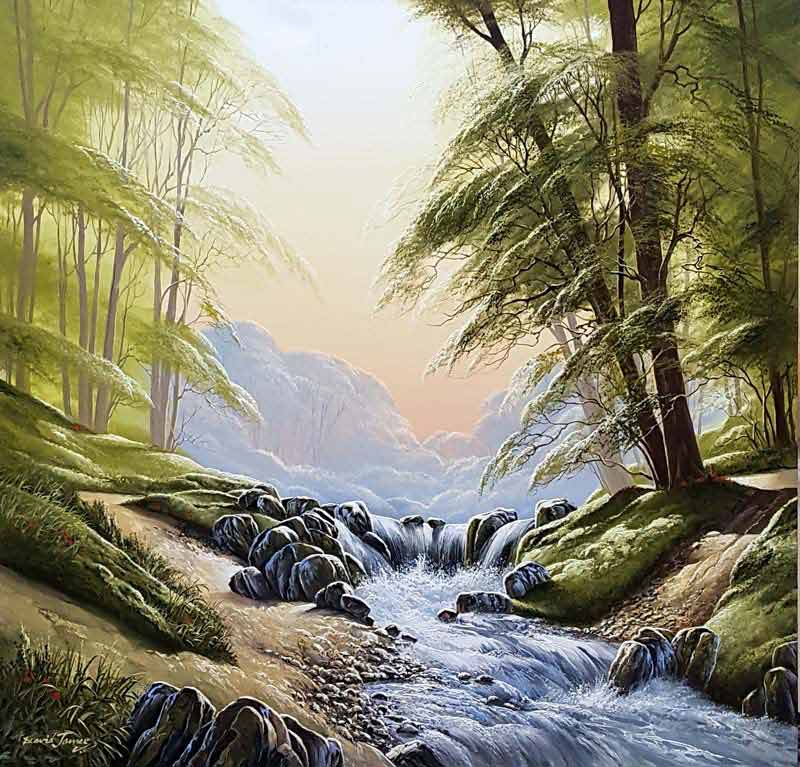 Rushing Waters - Painting by David James