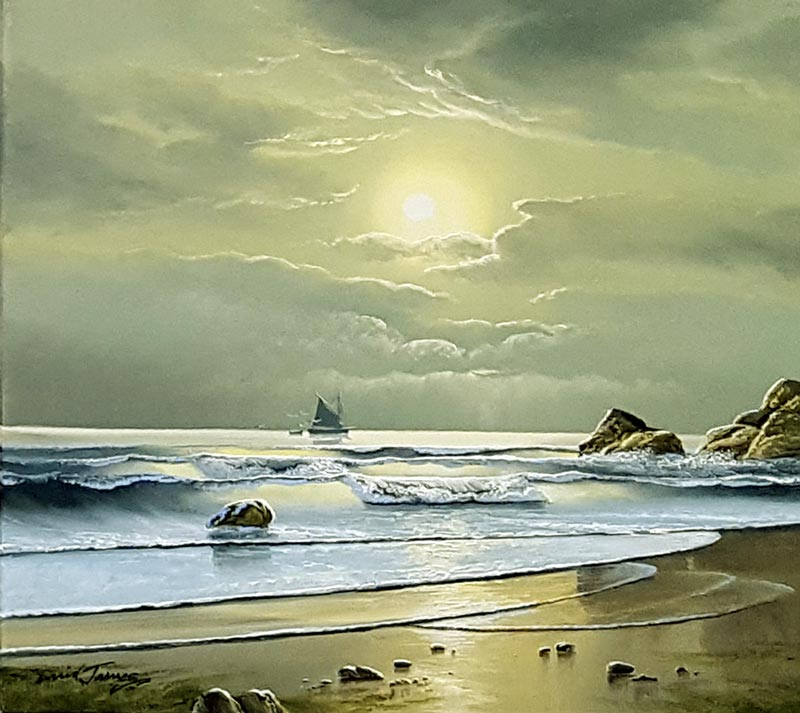 Sunkissed Waves - Painting by David James