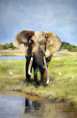 Elephant at Watering Hole - Painting by David Kelly