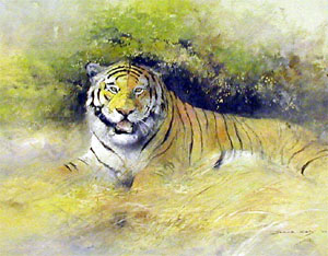 DK Tiger - Painting by David Kelly