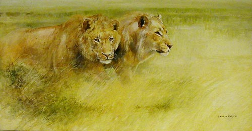 Lionesses - Painting by David Kelly