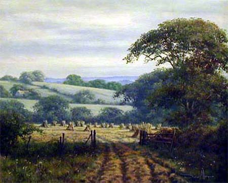 Hayfield Scene - Painting by David Morgan
