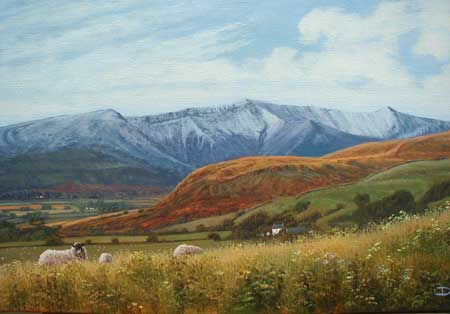 Landscape With Sheep - Painting by David Morgan