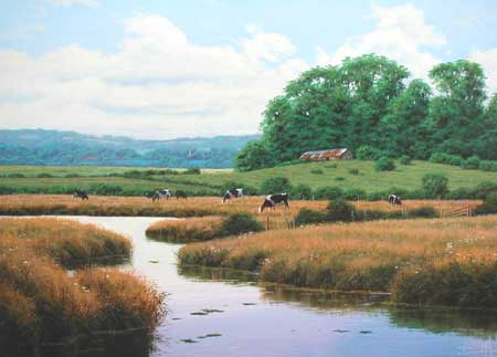 River Bank Scene - Painting by David Morgan