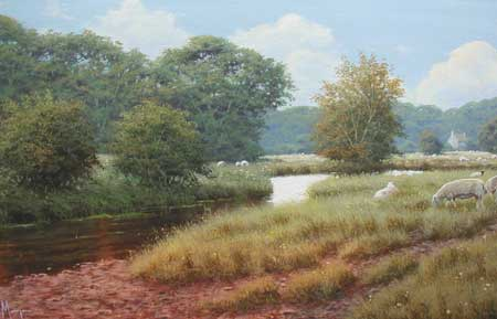 River Scene - Painting by David Morgan