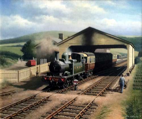 Great Western 146 Leaving Morehampstead Station - Painting by Don Breckon