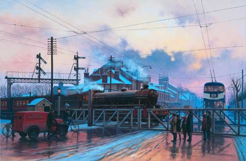 Anlaby Road Crossing (Hull) - Painting by Eric Bottomley