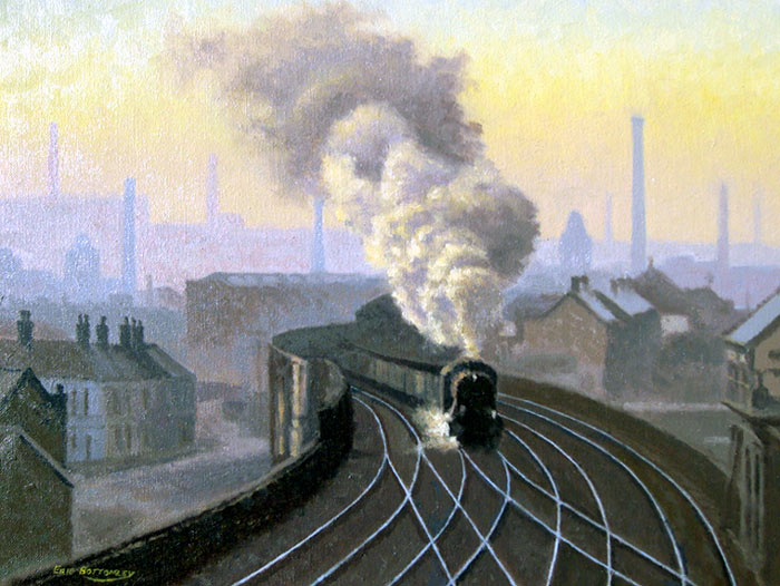 8F Goods at Stalybridge 1960's - Painting by Eric Bottomley