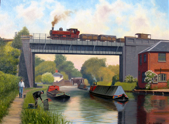 Metro Railway over Grand Union at Casio Locks - Painting by Eric Bottomley