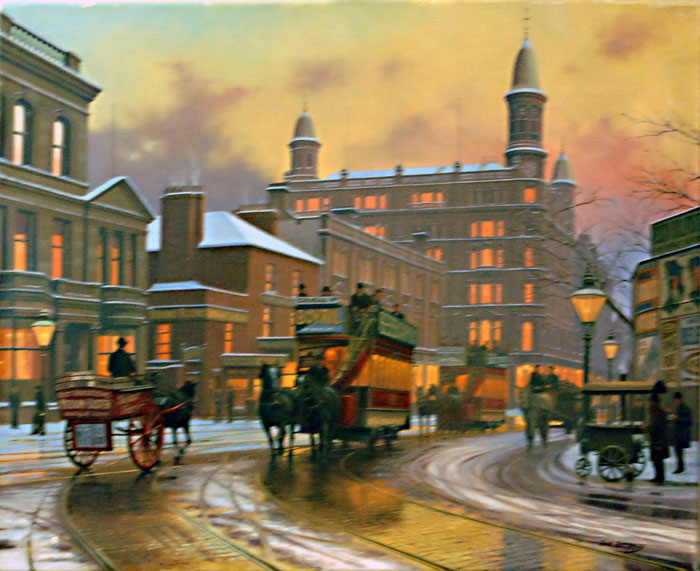 Donegal Square - Painting by Eric Bottomley