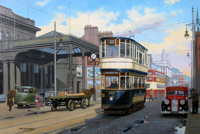 Great Victoria Street, Belfast - Painting by Eric Bottomley