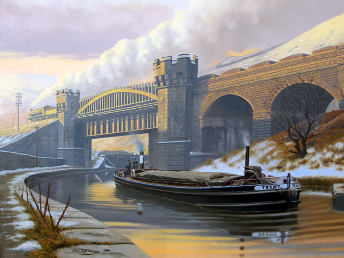 Pennine Crossing, Gauxholme - Painting by Eric Bottomley