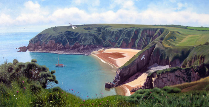 Skrinkle Haven, Pembrokeshire Coast Path - Painting by Eric Bottomley