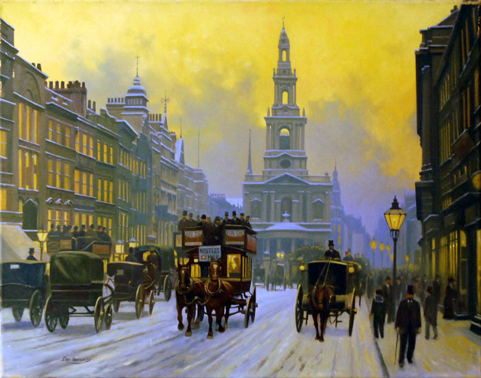St Mary Le Strand - Painting by Eric Bottomley