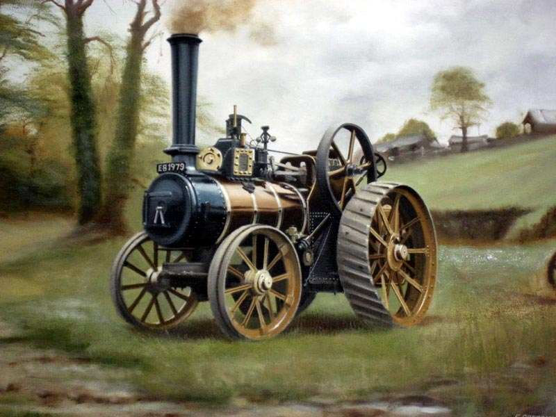 Steam Traction Engine - Painting by Eric Bottomley