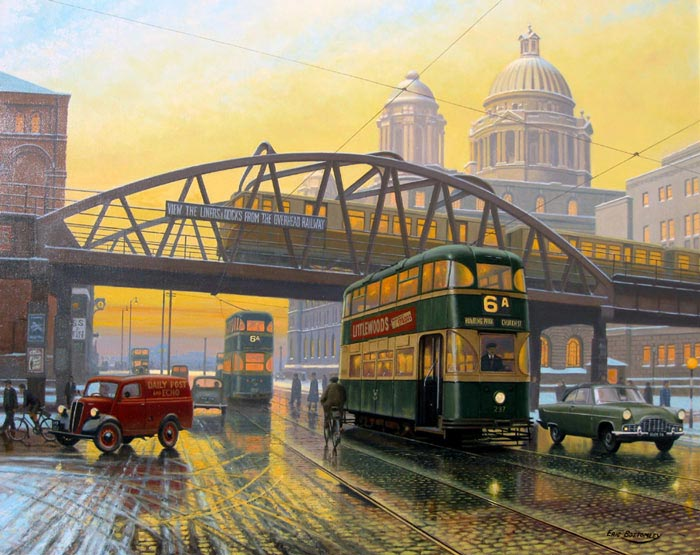 Sunsets on the Overhead, Liverpool - Painting by Eric Bottomley