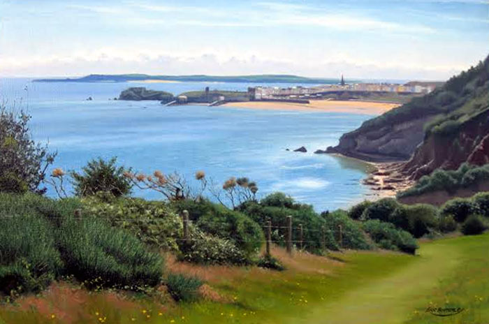 Tenby From Pembrokeshire Coast Path - Painting by Eric Bottomley