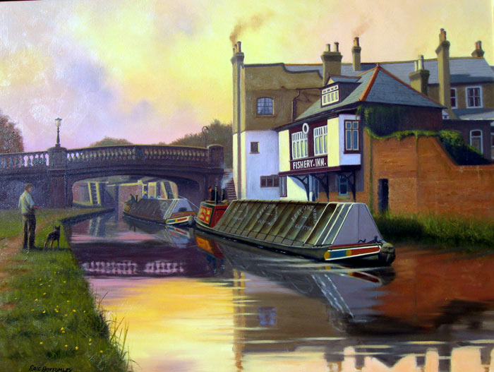 The Fishery Inn, Boxmoor - Painting by Eric Bottomley