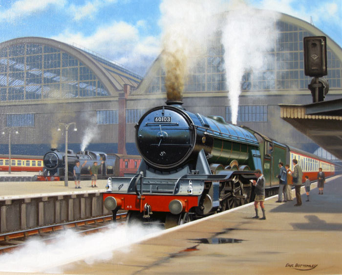 The Flying Scotsman Departs Kings Cross - Painting by Eric Bottomley