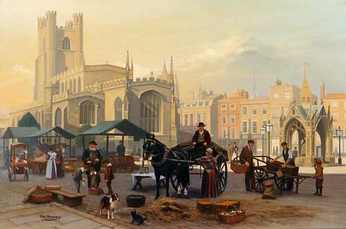 Cambridge Market Place c1890s - Painting by Eric Bottomley