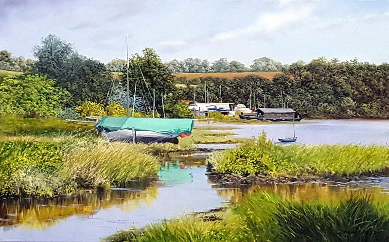 A Quiet Backwater nr Gweek - Painting by Graham Petley