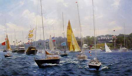 New York Yachting Regatta 1994 - Painting by J Steven Dews
