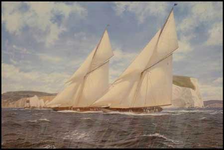 Shamrock and Lulworth Off The Needles 1929 - Painting by J Steven Dews