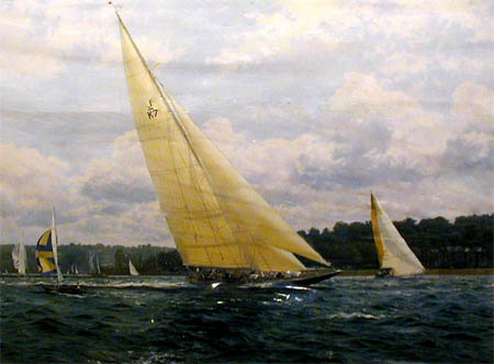 Valsheda Sail Trials - Painting by J Steven Dews