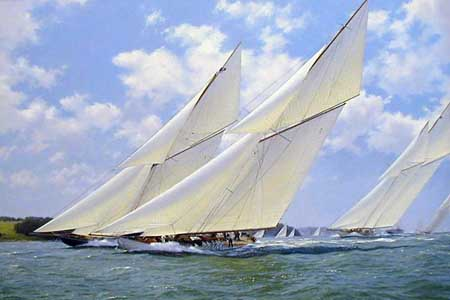 Lulworth Racing Britannia Westward Off Cowes, Isle of Wight - Painting by J Steven Dews