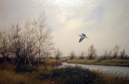 Heron near Wells - Painting by James Wright
