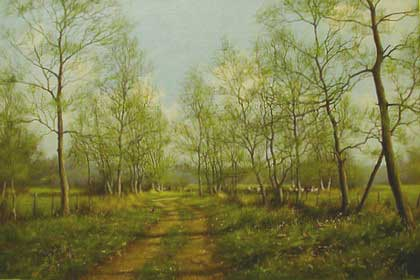 Country Lane - Painting by James Wright