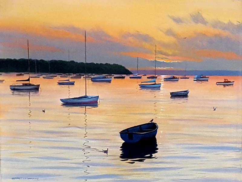 Sunkissed Harbour - Painting by Jeff Bradley