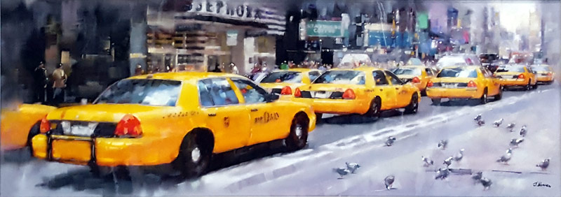 New York Taxis - Painting by Joe Bowen