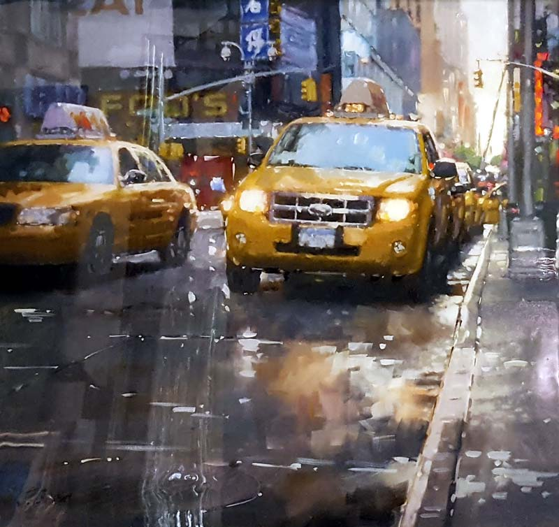 Yellow Cabs - Painting by Joe Bowen