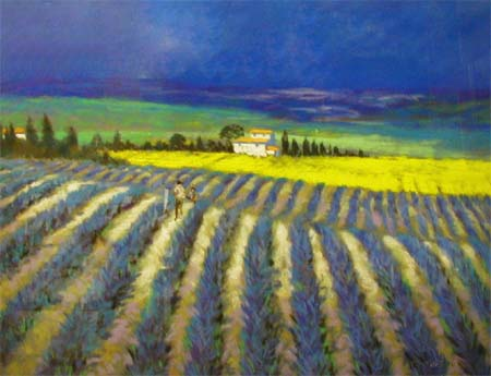 Lavender Field - Original Pastel - Painting by Joel Kirk